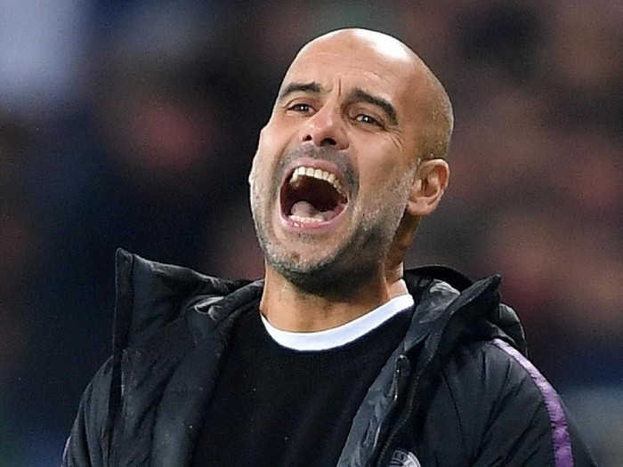 FC Shakhtar Donetsk v Manchester City - UEFA Champions League Group F KHARKOV, UKRAINE - OCTOBER 23: Josep Guardiola, Manager of Manchester City reacts during the Group F match of the UEFA Champions League between FC Shakhtar Donetsk and Manchester City at Metalist Stadium on October 23, 2018 in Kharkov, Ukraine. (Photo by Mike Hewitt/Getty Images)