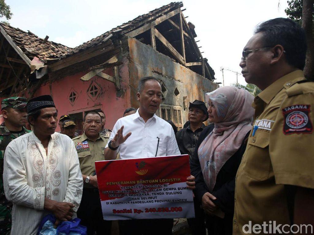 Mensos Minta Korban Gempa Banten Bangun Rumah Tahan Gempa