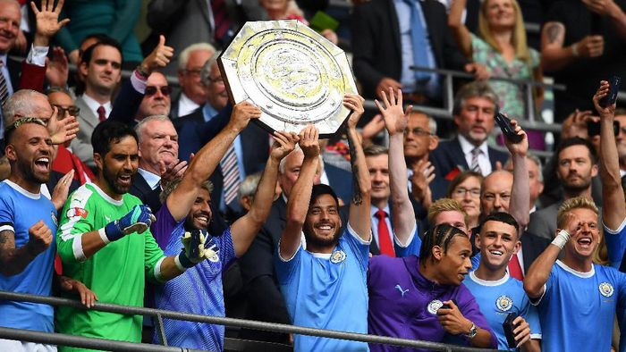 Manchester City juara Community Shield usai mengalahkan Liverpool. (Foto: Clive Mason/Getty Images)