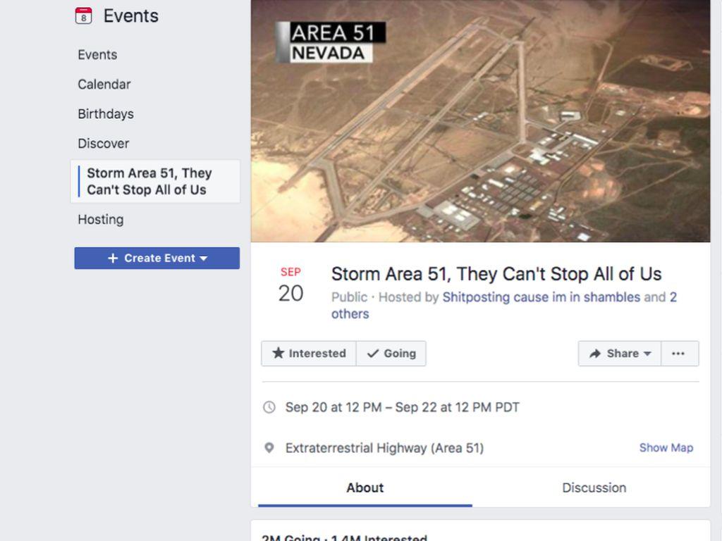 Sempat Dihapus Facebook, Undangan Serbu Area 51 Muncul Lagi