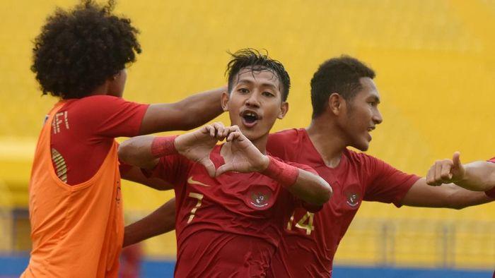 Timnas Indonesia ke semifinal Piala AFF U-18 2019 usai mengalahkan Laos 2-1. (Foto: Yusran Uccang/Antara Foto)