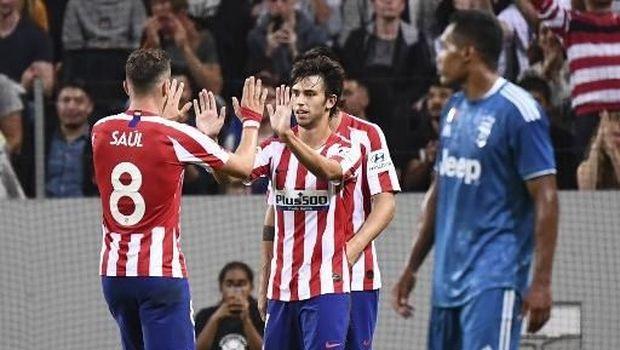 Joao Felix usai mencetak gol ke gawang Juventus, Minggu (11/8)