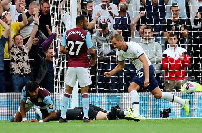 Harry Kane memenangkan Tottenham Hotspur atas Aston Villa di Liga Inggris. (Foto: Eddie Keogh / Reuters)