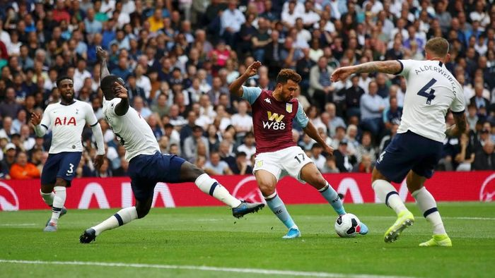 LONDON, ENGLAND - AUGUST 10: Trezeguet of Aston Villa shoots during the Premier League match between Tottenham Hotspur and Aston Villa at Tottenham Hotspur Stadium on August 10, 2019 in London, United Kingdom. (Photo by Julian Finney/Getty Images)