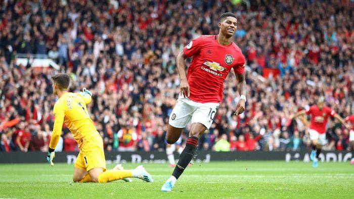 Marcus Rashford mencetak dua gol saat Manchester United menang 4-0 atas Chelsea akhir pekan lalu (Foto: Julian Finney/Getty Images)