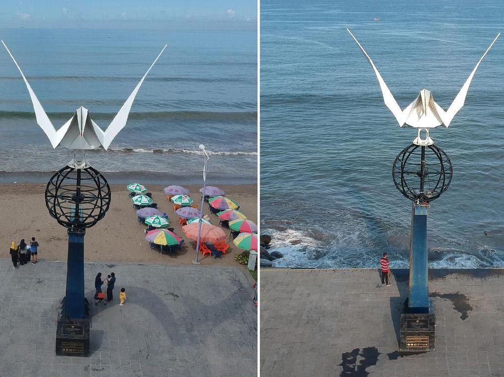 Before-After, Dampak Abrasi Monumen Merpati Perdamaian