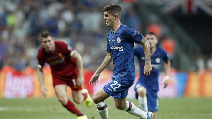 Christian Pulisic tampil oke saat Chelsea dikalahkan Liverpool di Piala Super Eropa (AP Photo/Thanassis Stavrakis)