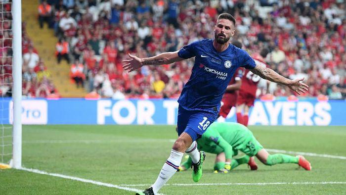Chelsea memimpin 1-0 atas Liverpool di babak pertama Piala Super Eropa. (Foto: Michael Regan/Getty Images)