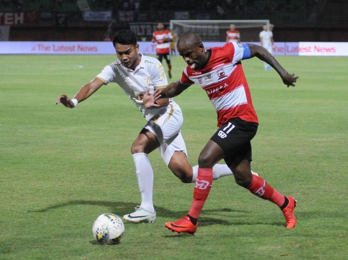 PSS Sleman memetik kemenangan dalam lawatan ke markas Madura United. (Foto: Saiful Bahri/Antara Foto)