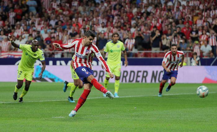 Atletico Madrid mengawali Liga Spanyol 2019/2020 dengan positif. Atletico menang 1-0 atas Getafe berkat gol Alvaro Morata. REUTERS/Sergio Perez.