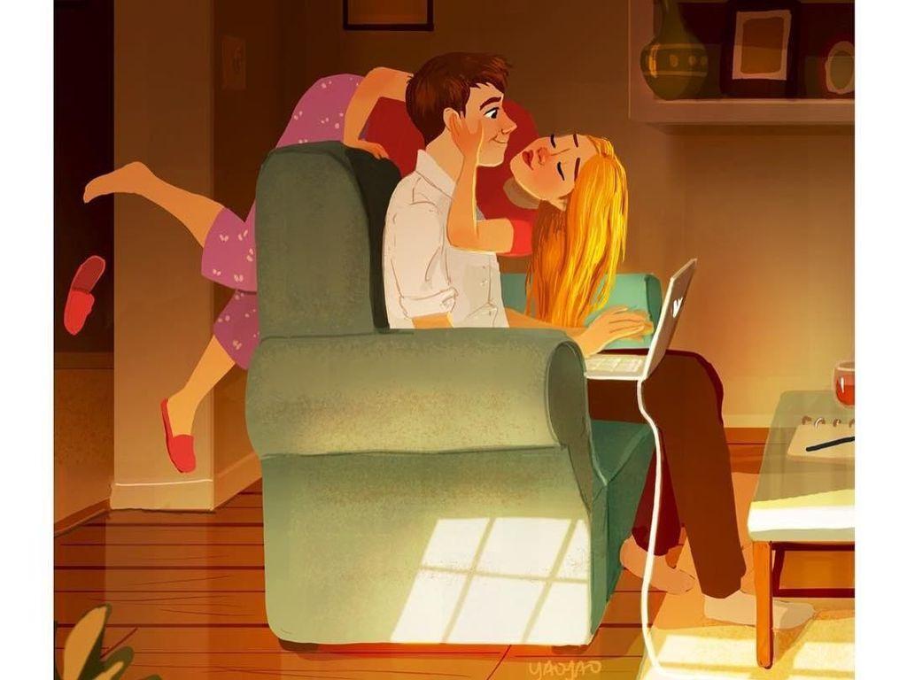 Jomblo Dilarang Lihat! 10 Ilustrasi Romantis Bareng Pasangan Ini Buat Baper