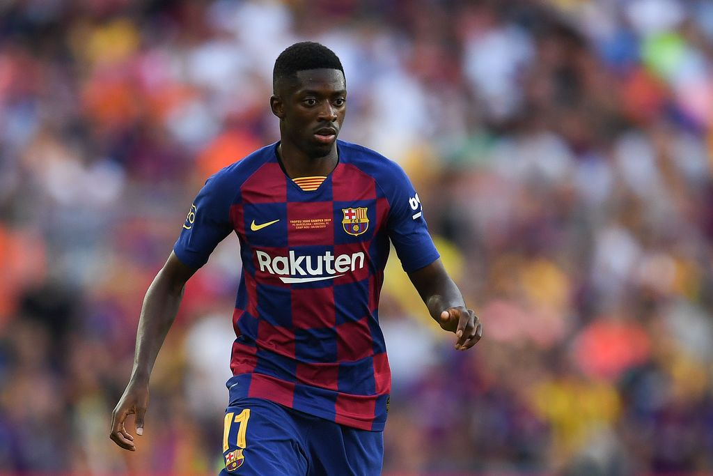 BARCELONA, SPAIN - AUGUST 04: Ousmane Dembele of FC Barcelona runs with the ball during the Joan Gamper trophy friendly match between FC Barcelona and Arsenal at Nou Camp on August 04, 2019 in Barcelona, Spain. (Photo by David Ramos/Getty Images)