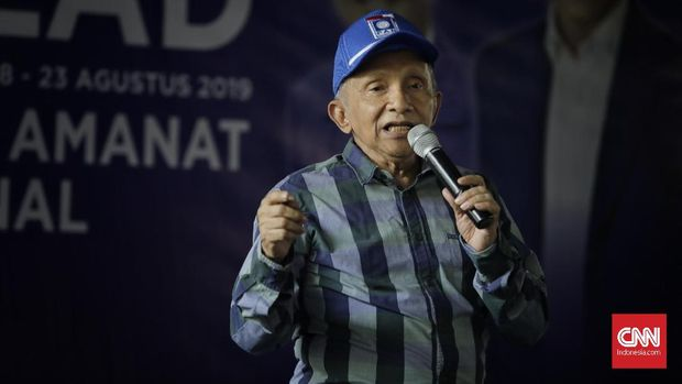 Ketua Dewan Kehormatan PAN Amien Rais saat perayaan milad ke-21 PAN di kolong tol Pluit. Jakarta, Jumat, 23 Agustus 2019.