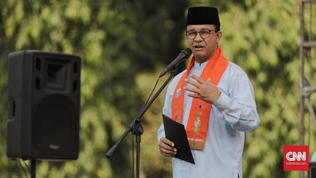 Gubernur DKI Jakarta Anies Baswedan saat menghadiri Pagelaran Budaya dan Festival kuliner etnik nusantara. Jakarta, Sabtu, 24 Agustus 2019.