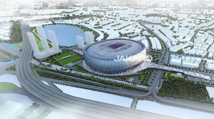 Pembangunan Jakarta International Stadium (JIS) memasuki babak baru setelah PT Jakarta Propertindo (BUMD) mengumumkan pemenang lelang kontraktor utama, yakni KSO WIKA Gedung, Jaya Konstruksi, dan PT PP. (Dok. Jakpro)