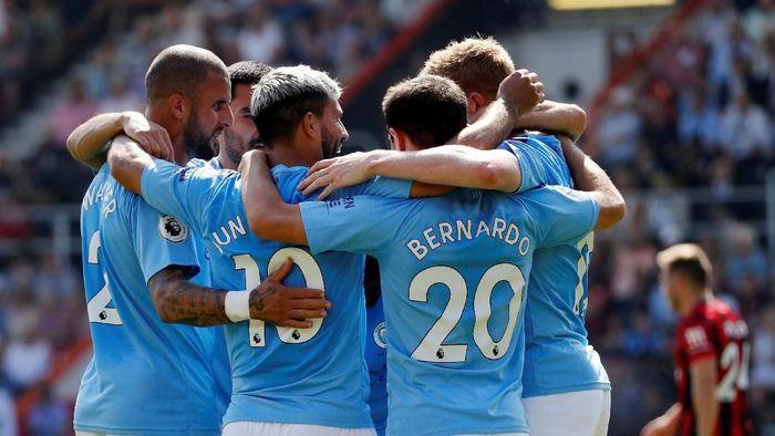 Sergio Aguero mencetak dua gol dan Man City menang 3-1 atas Bournemouth (Russell Cheyne/REUTERS)