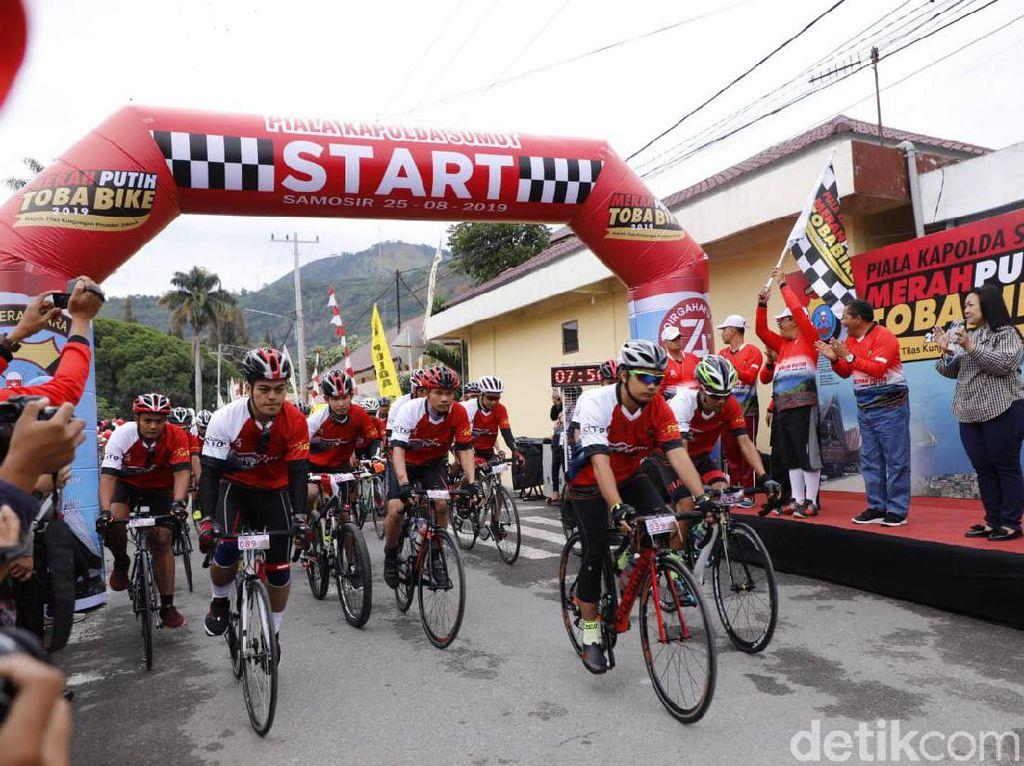 Promosikan Danau Toba, Polda Sumut Gelar Merah Putih Toba Bike 2019