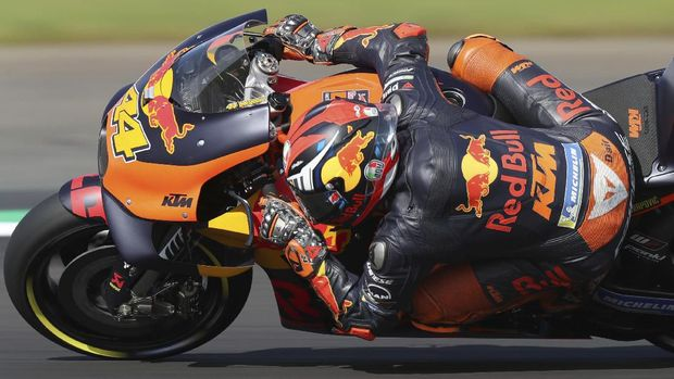 Spain's Pol Espargaro during a practice session ahead of the British Grand Prix MotoGP at Silverstone, Towcester, England, Saturday Aug. 24, 2019. (Bradley Collyer/PA via AP)