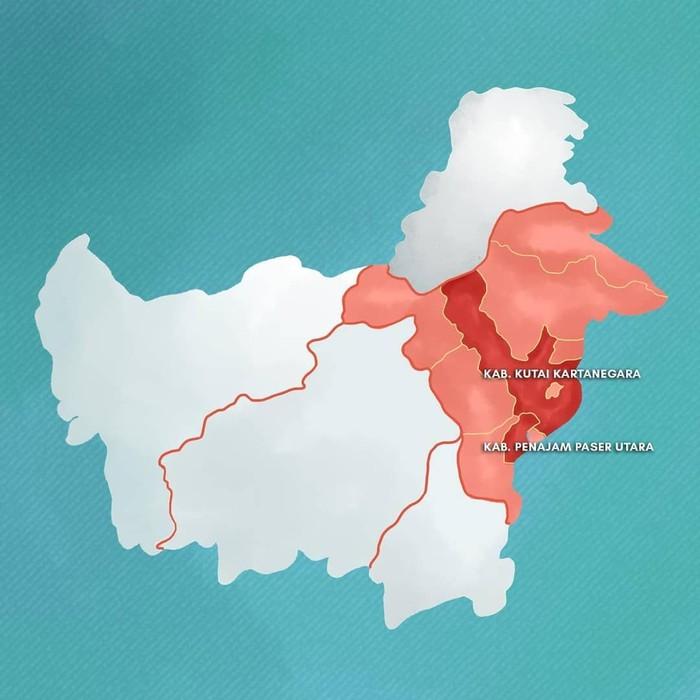 Foto: Ibu kota baru di Penajam Paser Utara dan Kutai Kartanegara (Instagram Jokowi)