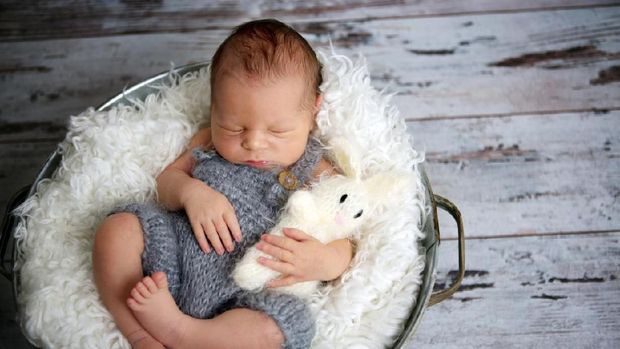 Newborn baby boy, sleeping peacefully in basket, dressed in knitted outfit, chilling out, happy and cute