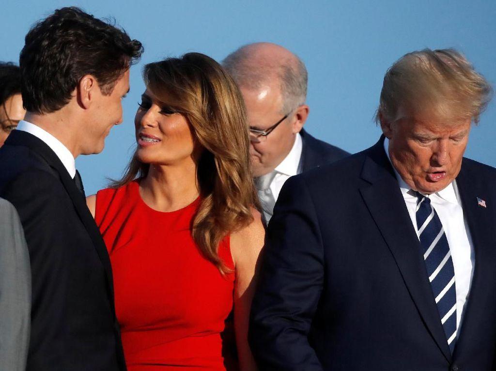 Viral Tatapan Melania Trump Saat Mencium Pipi PM Kanada
