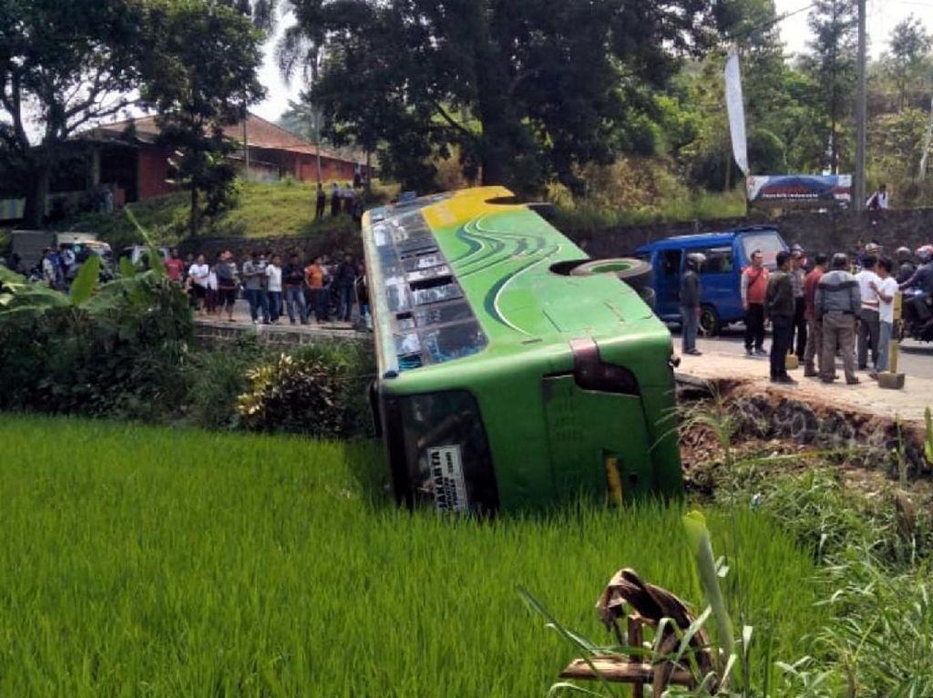Bus Terguling Masuk Sawah di Cianjur, 3 Orang Patah Tulang