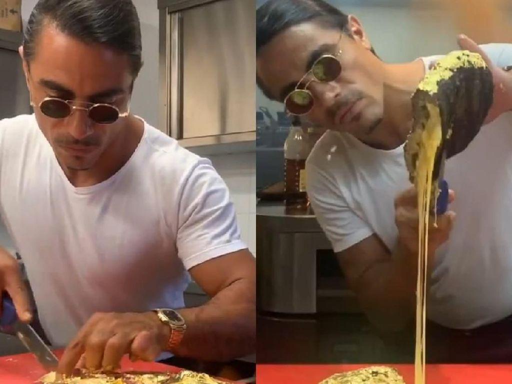 Wow! Chef Nusret Salt Bae Menggiling Daging Berlapis Emas 24 Karat