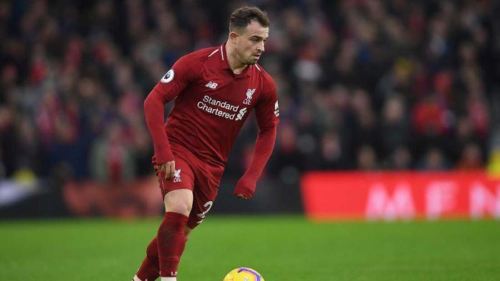 Xherdan Shaqiri belum pernah dimainkan Liverpool di Liga Inggris musim ini (Foto: Mike Hewitt/Getty Images)