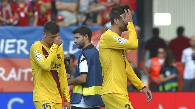 Barcelona mengulang start terburuk dalam tiga pertandingan pertama Liga Spanyol. Foto: Ander Gillenea / AFP
