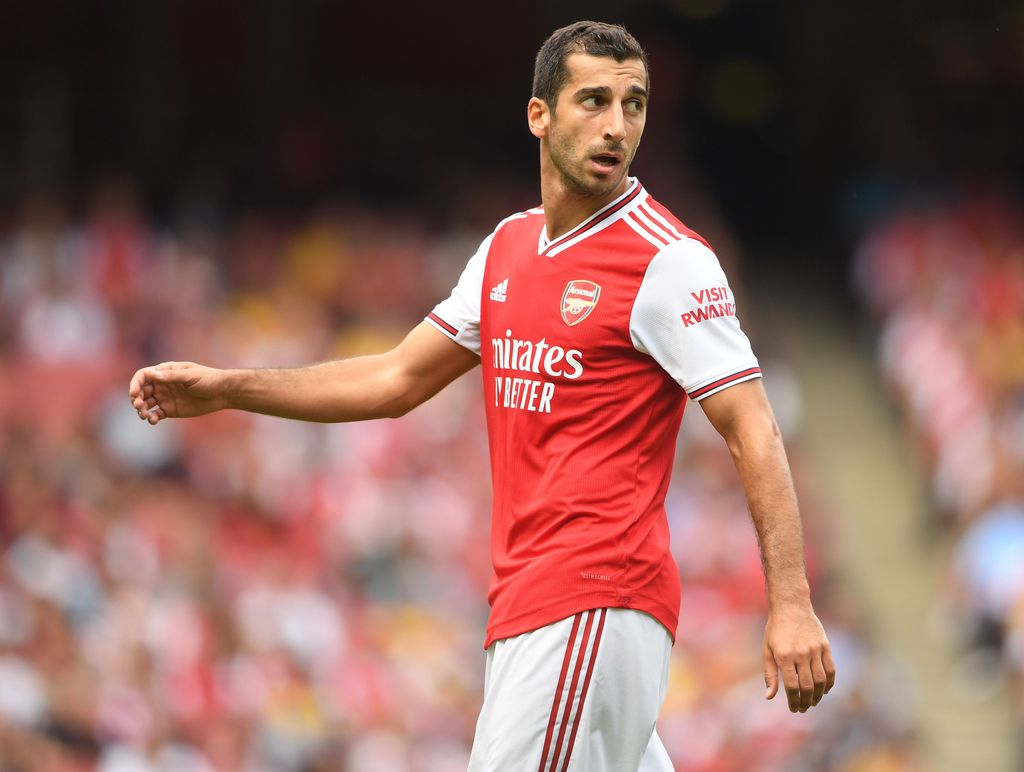 LONDON, ENGLAND - JULY 28: Henrikh Mkhitaryan of Arsenal in action during the Emirates Cup match between Arsenal and Olympique Lyonnais at the Emirates Stadium on July 28, 2019 in London, England. (Photo by Michael Regan/Getty Images)