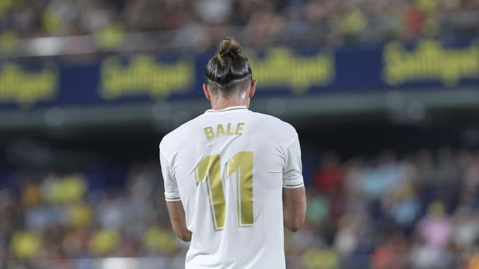 Real Madrids Gareth Bale during the Spanish La Liga soccer match between Villarreal and Real Madrid in the Ceramica stadium in Villarreal, Spain, Sunday, Sept. 1, 2019. (AP Photo/Alberto Saiz)