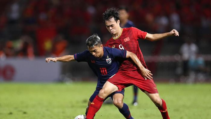 Thailand vs Vietnam berakhir imbang 0-0. (Foto: Pakawich Damrongkiattisak/Getty Images)
