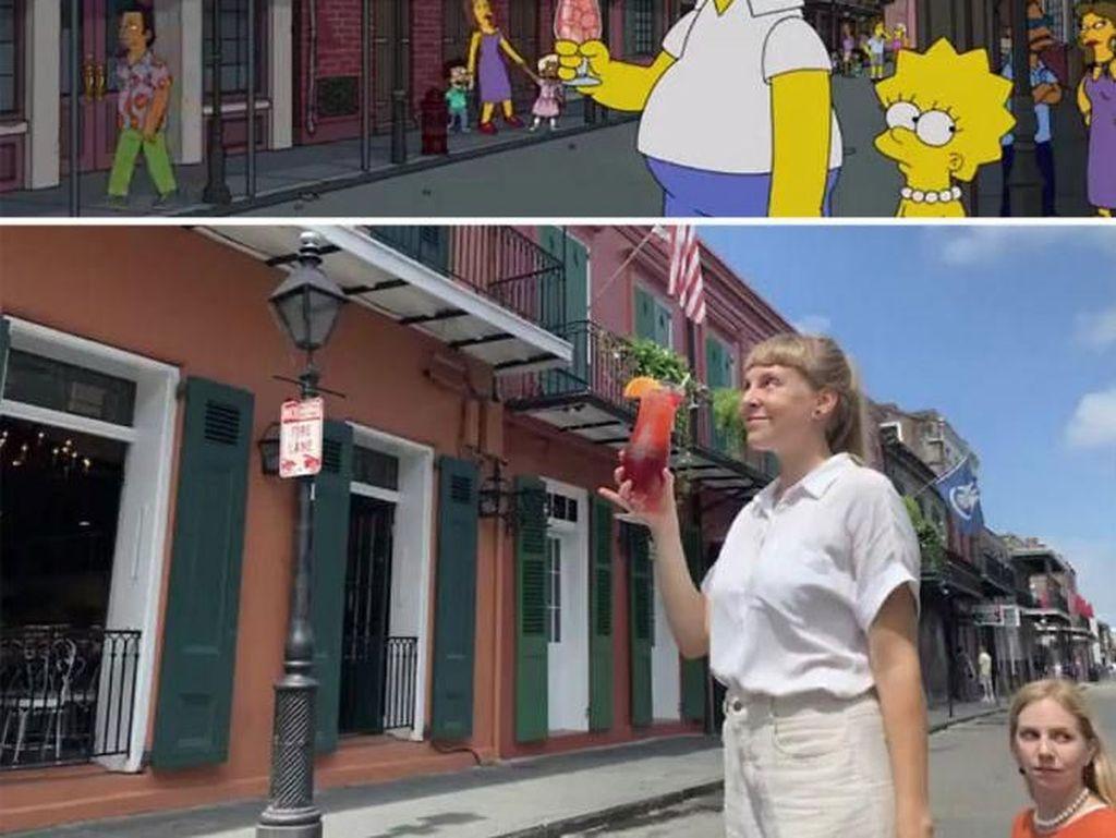 Kreatif Banget! Dua Turis Ini Niat Tirukan Momen Makan The Simpsons