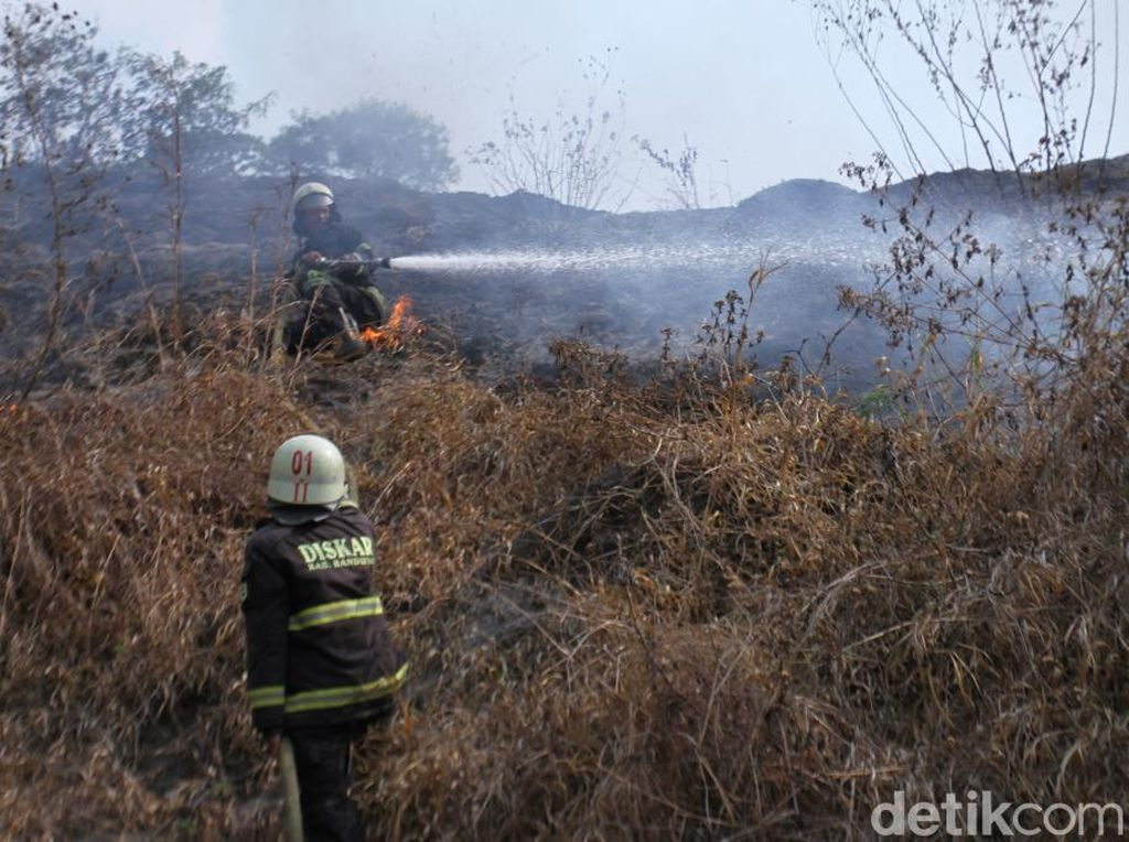 Lahan Gambut 2 Hektare di Gunung Pasir Paros Baleendah Terbakar