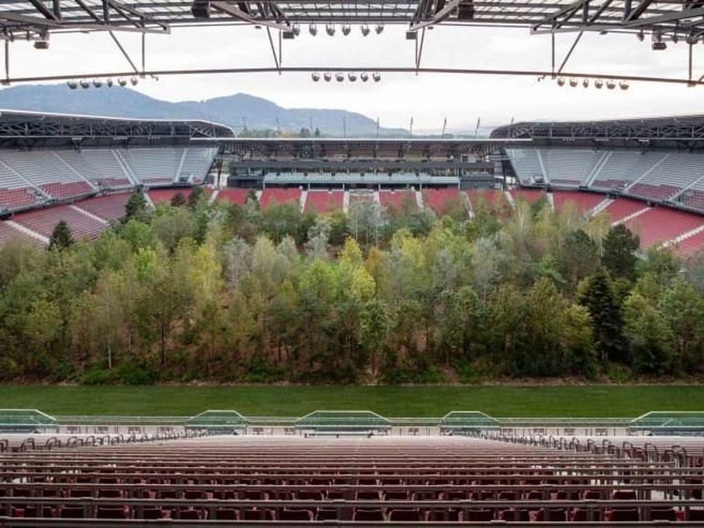 Ada Hutan Tumbuh di Tengah Stadion Sepak Bola