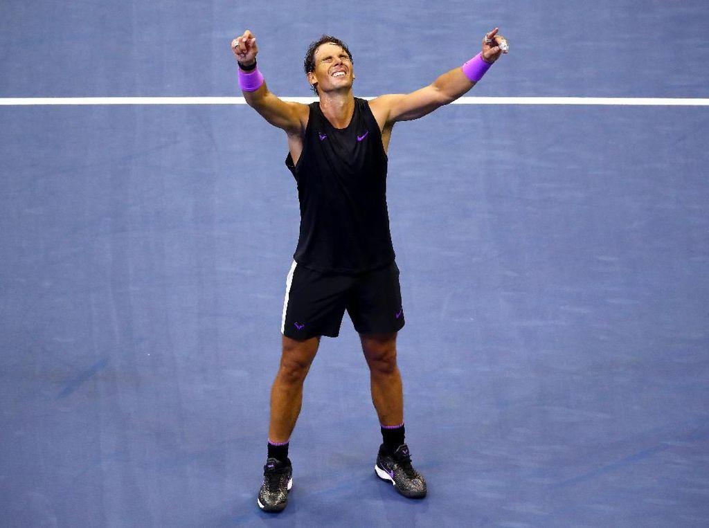 Atasi Perlawanan Alot Medvedev, Rafael Nadal Juara AS Terbuka