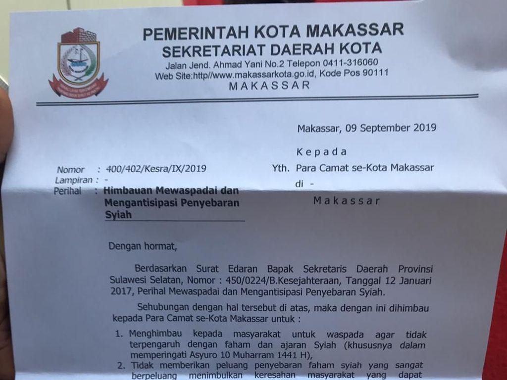 Hari Asyura, Pemkot Makassar Rilis Edaran Antisipasi Penyebaran Syiah