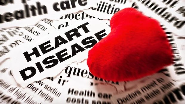 A plush, stuffed toy red heart, more often associated with Valentines Day, rests on newspaper headlines about heart disease and the costs of health care.