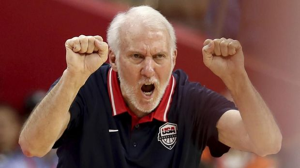 United States' coach Gregg Popovich gestures during a quarterfinal match against France for the FIBA Basketball World Cup in Dongguan in southern China's Guangdong province on Wednesday, Sept. 11, 2019. France defeated United States 89-79. (AP Photo/Ng Han Guan)