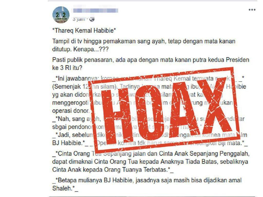 Hoax! Broadcast BJ Habibie Donorkan Kornea ke Thareq Habibie Tidak Benar