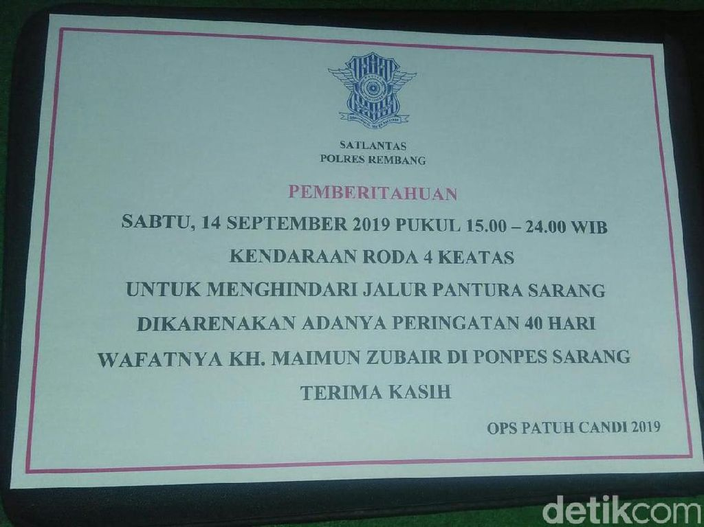 Pantura Rembang Ditutup Jelang Tahlilan 40 Hari Wafat Mbah Moen