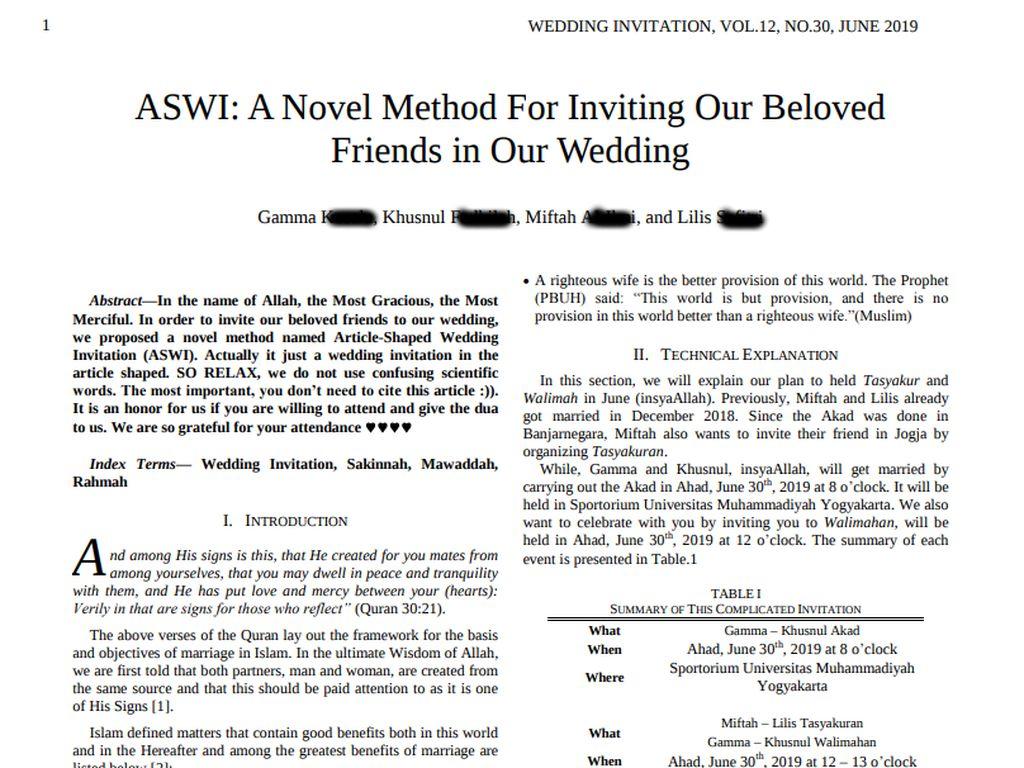 Seperti Jurnal Penelitian, Begini Undangan Pernikahan Mahasiswa Doktoral UGM