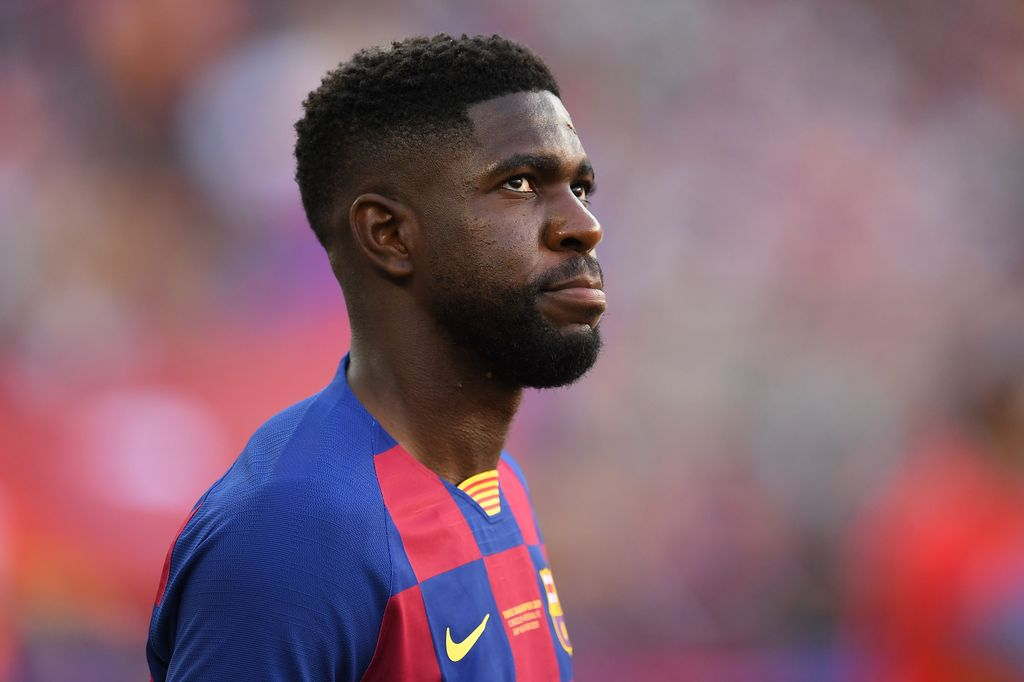 BARCELONA, SPAIN - AUGUST 04: Samuel Umtiti of FC Barcelona looks on prior to the Joan Gamper trophy friendly match between FC Barcelona and Arsenal at Nou Camp on August 04, 2019 in Barcelona, Spain. (Photo by David Ramos/Getty Images)