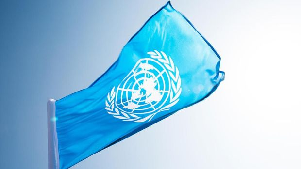 Fujian, China - November 28, 2016: United Nations flag  blowing in the wind.  The United Nations (UN) is an international organization whose stated aims are facilitating cooperation in international law, international security, economic development, social progress, human rights, and achievement of world peace.