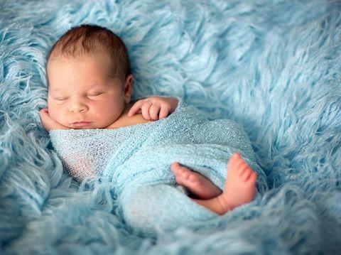 Portrait of sleeping newborn baby boy