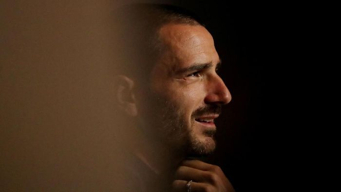 Soccer Football - Champions League - Juventus Press Conference - Wanda Metropolitano, Madrid, Spain - September 17, 2019  Juventus Leonardo Bonucci during the press conference  REUTERS/Sergio Perez