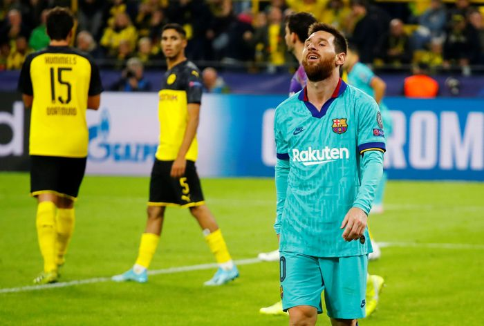 Borussia Dortmund bermain imbang 0-0 dengan Barcelona di matchday pertama Grup F Liga Champions. REUTERS/Wolfgang Rattay.