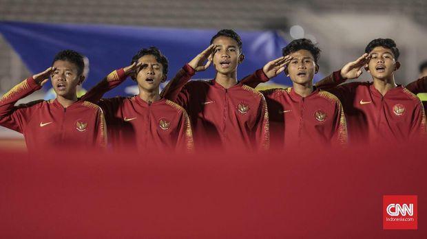 Pertandingan kualifikasi Piala Asia U-16 antara timnas Indonesia melawan timnas Kepulauan Mariana Utara di Stadion Madya, Jakarta, Rabu, 18 September 2019. CNN Indonesia/Bisma Septalisma