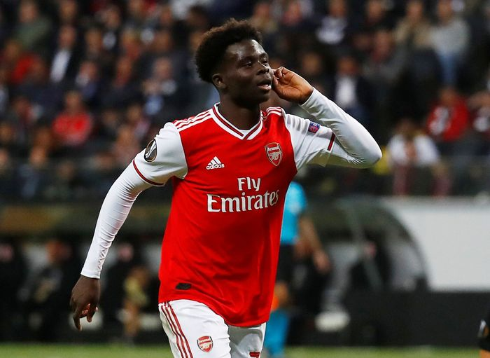 Soccer Football - Europa League - Group F - Eintracht Frankfurt v Arsenal - Commerzbank-Arena, Frankfurt, Germany - September 19, 2019  Arsenals Bukayo Saka celebrates scoring their second goal   REUTERS/Kai Pfaffenbach