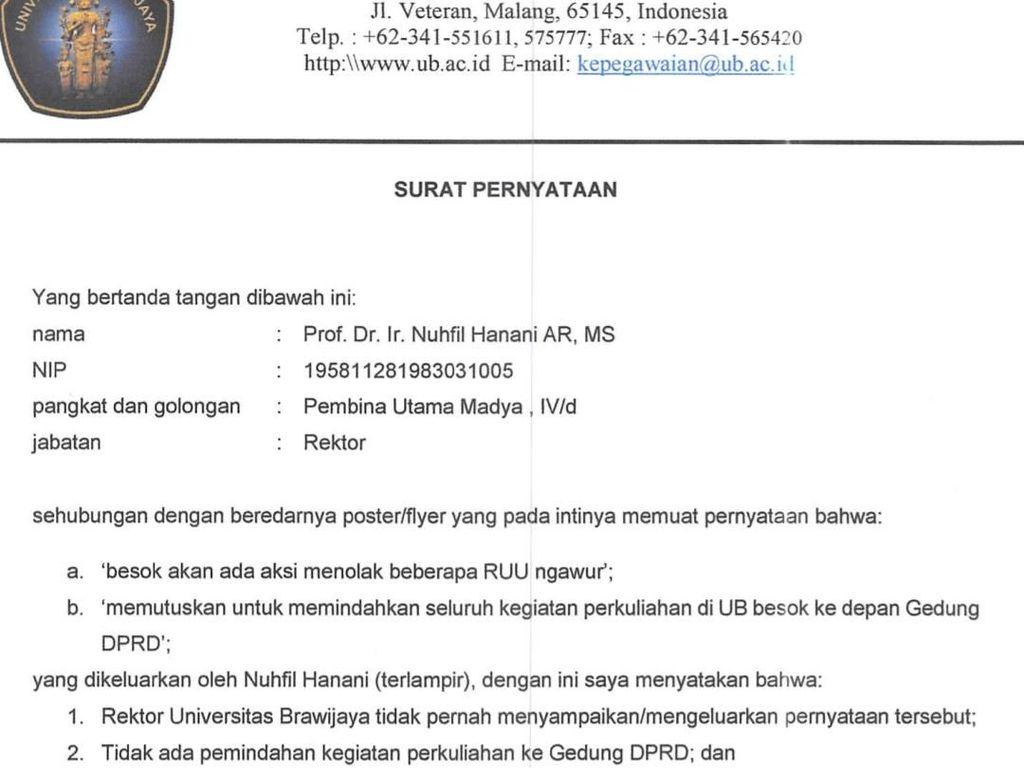 Rektor Brawijaya Bantah Serukan Mahasiswa Demo di DPRD Kota Malang